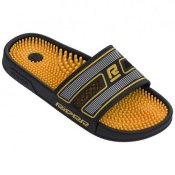 R89 black and yellow flat shovel flip flops for man