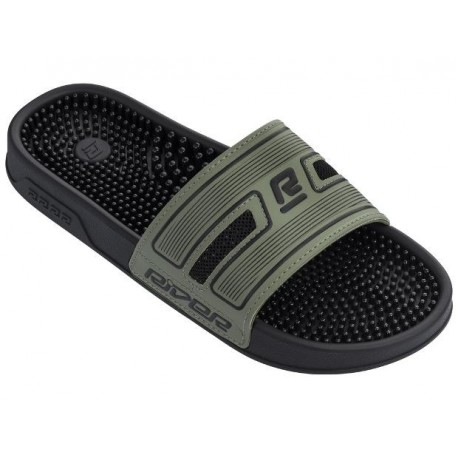 R89 black and green flat shovel flip flops for man