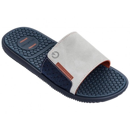 BARCELONA II SLID blue and brown flat shovel flip flops for man