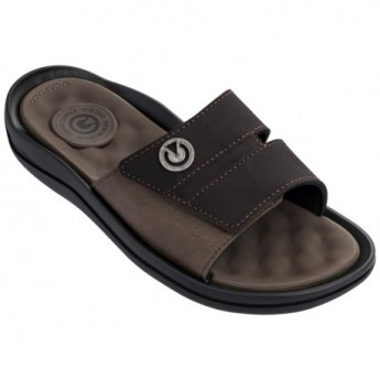 SANTORINI IV black and brown flat shovel flip flops for man