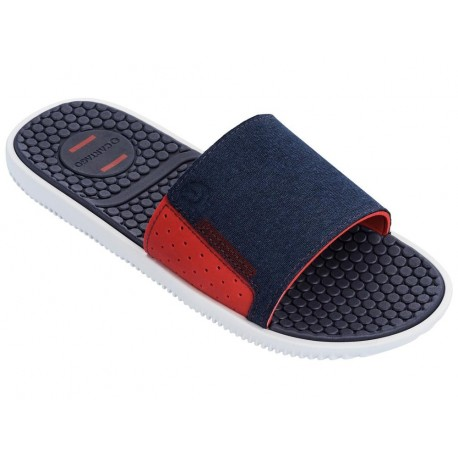 BARCELONA II SLID blue and red flat shovel flip flops for man
