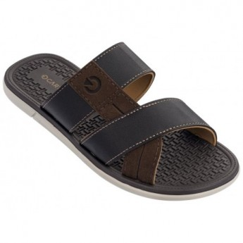 MALI X beige and brown flat open flip flops for man