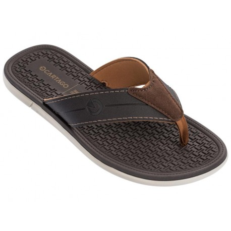 MALI X beige and brown flat finger flip flops for man
