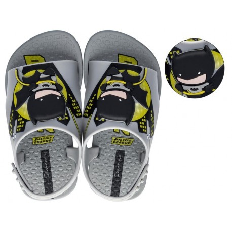IPANEMA LIGA DA JUSTICA black and yellow fantasy print flat roman clogs for baby