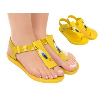 LOONEY TUNES yellow fantasy print flat finger sandals for woman