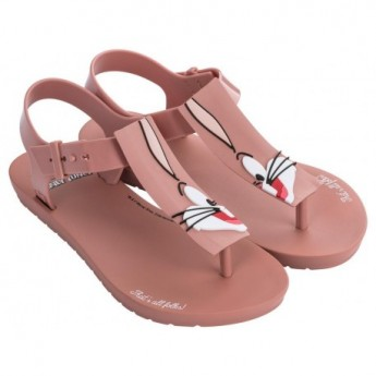 LOONEY TUNES nude fantasy print flat finger sandals for woman