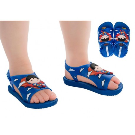 IPANEMA LIGA DA JUSTICA blue and red fantasy print flat roman clogs for baby