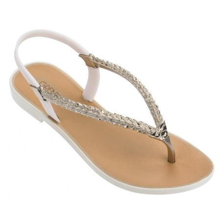 TROPICALIA beige and gold flat finger sandals for woman