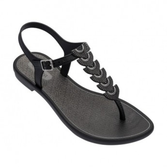 GLAMOROUS black and silver flat finger sandals for woman