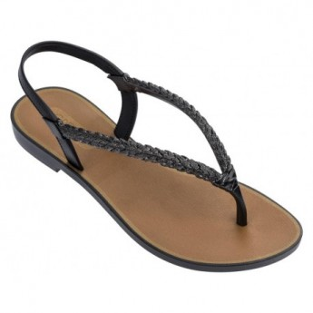 TROPICALIA black and brown flat finger sandals for woman