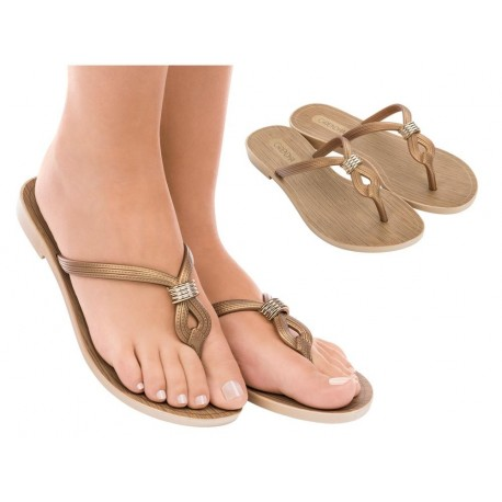 IMPREVISIVEL gold flat finger sandals for woman