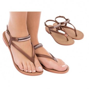 IMPREVISIVEL copper flat finger sandals for woman