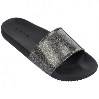 SNAP GLITTER black flat shovel flip flops for woman