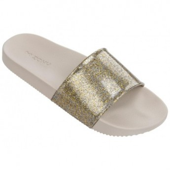 SNAP GLITTER beige and gold flat shovel flip flops for woman