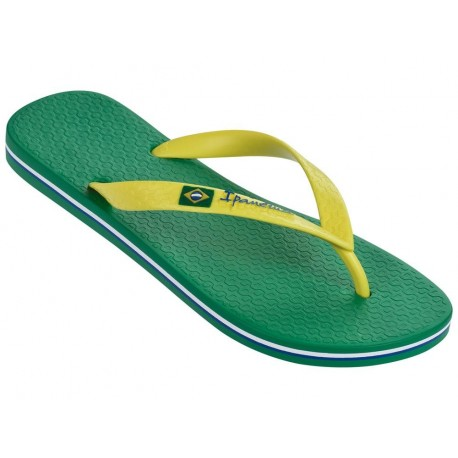 CLAS BRASIL II green and yellow flat finger flip flops for man