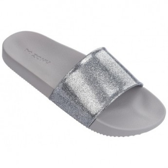SNAP GLITTER silver flat shovel flip flops for woman