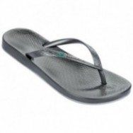 ANAT BRILLIANT III grey and silver flat finger flip flops for woman