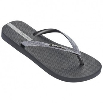LOLITA III grey and silver flat finger flip flops for woman