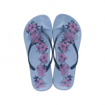 ANAT PRINT blue floral print flat finger flip flops for woman