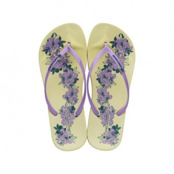 ANAT PRINT yellow and lila floral print flat finger flip flops for woman