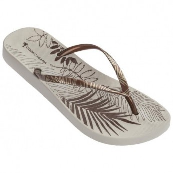 ANAT FOLIAGE beige and copper tropical print flat finger flip flops for woman