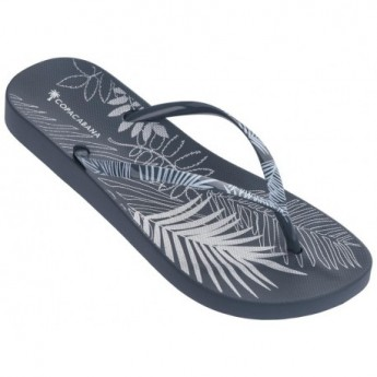 ANAT FOLIAGE blue tropical print flat finger flip flops for woman