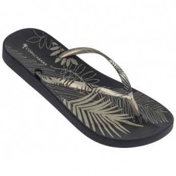 ANAT FOLIAGE gold tropical print flat finger flip flops for woman