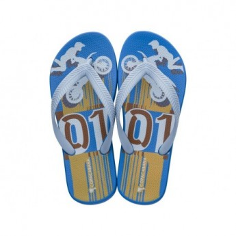 COPACABANA KIDS blue urban print flat finger flip flops for child