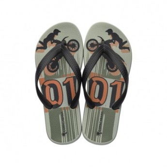 COPACABANA KIDS black and green urban print flat finger flip flops for child
