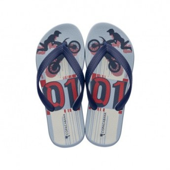 COPACABANA KIDS blue and red urban print flat finger flip flops for child