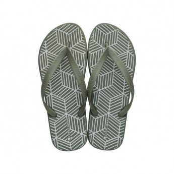COPACABANA AD green geometric shapes print flat finger flip flops for man
