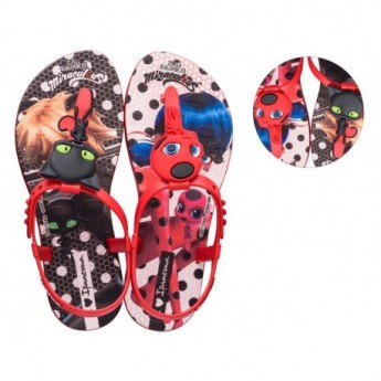 IPANEMA LADYBUG black and red fantasy print flat finger sandals for girl