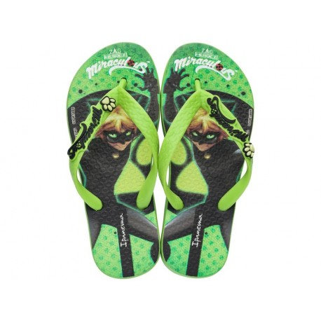 IPANEMA LADYBUG black and green fantasy print flat finger flip flops for girl