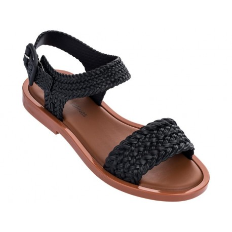 MAR SANDAL + SALINAS black flat open sandals for woman