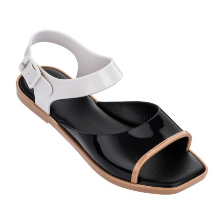 CRUSH beige and black flat open sandals for woman