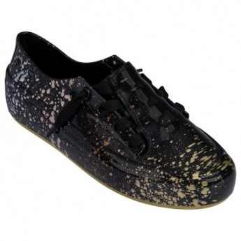 ULITSA SNEAKER SPLASH love match black and gold flat sneakers for woman