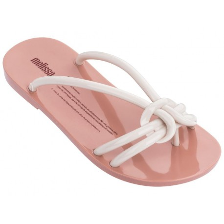 SAUDADE beige and pink flat finger flip flops for woman