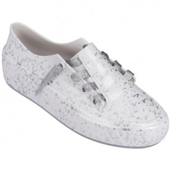 ULITSA SNEAKER SPLASH love match silver and white flat sneakers for woman