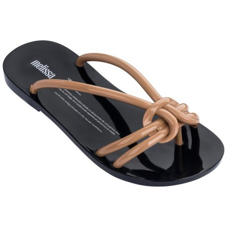 SAUDADE beige and black flat finger flip flops for woman