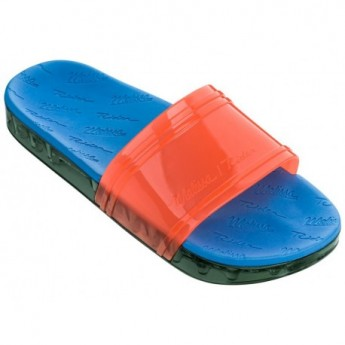 SLIDE + RIDER love match blue and green flat shovel flip flops for woman