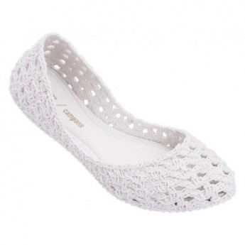 CAMPANA CROCHET hermanos campana white flat ballet flats for woman