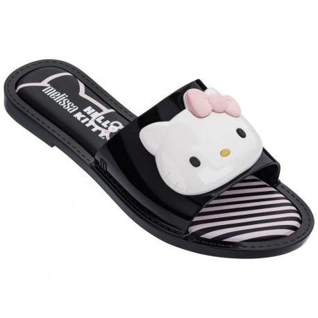 SLIPPER + HELLO KITTY hello kitty black flat open flip flops for woman