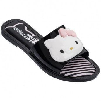 SLIPPER + HELLO KITTY hello kitty black and white flat shovel flip flops for woman