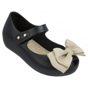 ULTRA SWEET beige and black flat closed ballet flats for baby