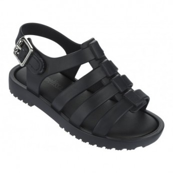 FLOX black flat roman sandals for baby