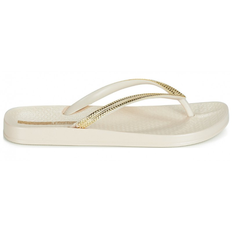 Ipanema MESH III beige and gold flat finger flip flops for woman