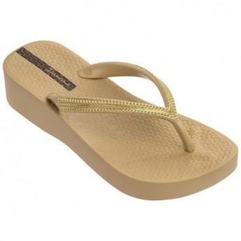 MESH IV beige wedge finger flip flops for woman