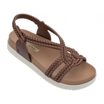 COSMIC SANDAL + SALINAS beige and copper flat open sandals for woman