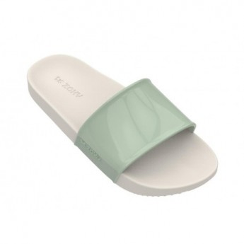 SNAP green and white flat shovel flip flops for woman