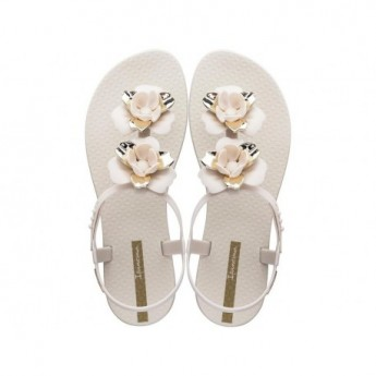 FLORAL beige and gold flat finger sandals for woman